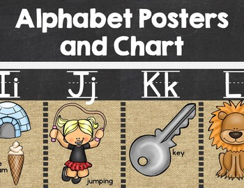 Alphabet Posters and Chart {Burlap and  Chalkboard}