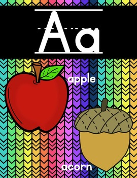 Alphabet Posters and Chart {Neon and Black Chevron}