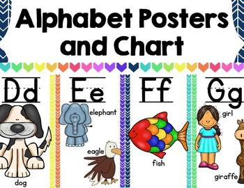 Alphabet Posters and Chart {Rainbow Chevron}
