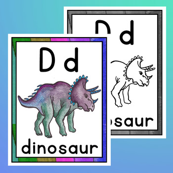 Alphabet Posters with Pictures and Coloring Pages