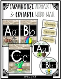 Alphabet Posters and Editable Word Wall -Farmhouse Ship lap