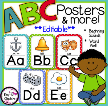 Alphabet Posters and More - EDITABLE - Polka Dot