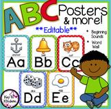 Alphabet Posters and More - EDITABLE - Polka Dot