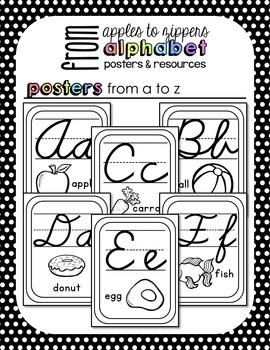 Alphabet Posters and Resources {Cursive, Blackline Edition}