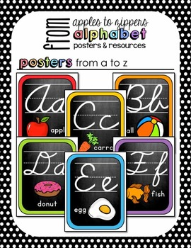 Alphabet Posters and Resources {Cursive, Rainbow Chalkboard Edition}