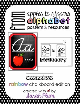 Alphabet Posters and Resources {Cursive, Rainbow Chalkboar