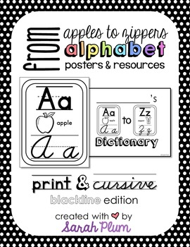 Alphabet Posters and Resources {Print & Cursive, Blackline Edition}