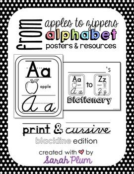 Alphabet Posters and Resources {Print & Cursive, Blackline