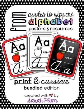 Alphabet Posters and Resources {Print & Cursive} Bundle