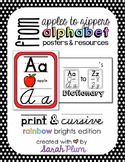 Alphabet Posters and Resources {Print & Cursive, Rainbow B
