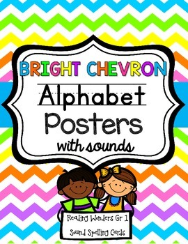 Alphabet Posters and Spelling Sound Cards {Bright Chevron}