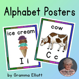 Alphabet Posters in Realistic Art - Bulletin Board, Word Cards, or Mini Book