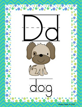 Alphabet Posters and Word Wall Cards - Bright Theme