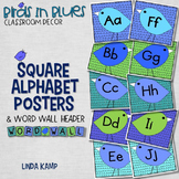 Alphabet Posters and Word Wall Header Birds in Blue Classroom Decor