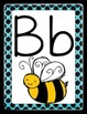 Alphabet Posters and Word Wall Headers Black&Blue Dots