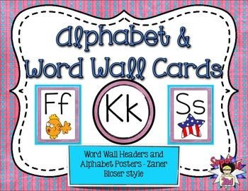 Alphabet Posters and Word Wall Headers Blue and Pink