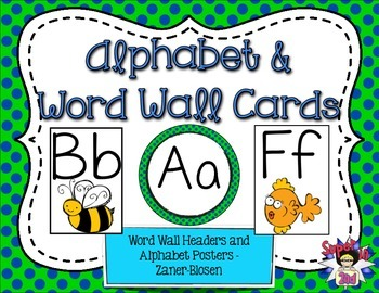 Print Alphabet Posters and Word Wall Headers Lime and Navy Dots