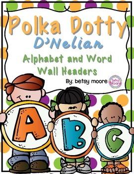 Alphabet Posters and Word Wall Headers Polka Dot D'Nelian Classroom Decor