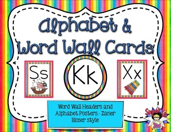 Alphabet Posters and Word Wall Headers Rainbow