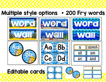 Alphabet Posters and Word Wall: Ocean-Themed