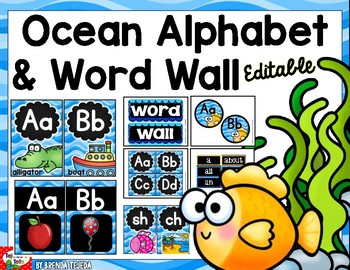 Alphabet Posters and Word Wall: Ocean-Themed CHALK