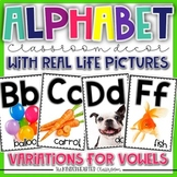 Alphabet Posters for Classroom Decor with Real Life Pictures