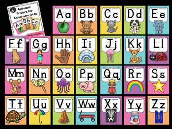 Alphabet Posters for Classroom Walls {Rainbow Pastels}