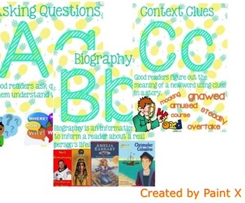 Alphabet Posters for Grades 2-5 with Reading Skills and Visuals Included
