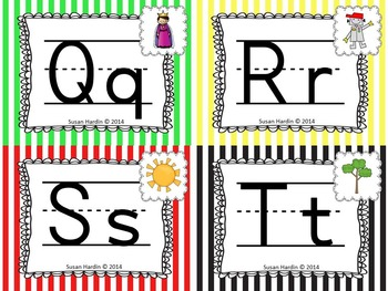 Alphabet Posters (full & half) and Cards:  Primary Stripes Theme