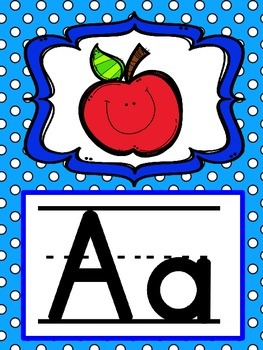 Alphabet Posters in Blue Polka Dots