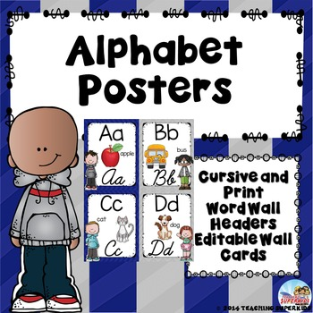 Alphabet Posters in Gray and Royal Blue Chevron