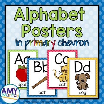 Alphabet Posters in Primary Chevron