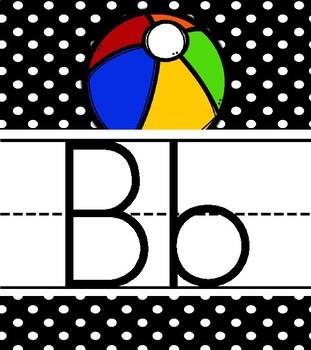 Alphabet Posters in Print: Black & White Polka Dot