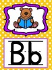Alphabet Posters in Purple and Yellow Polka Dots