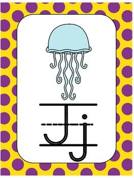 Alphabet Posters in Xmas Polka Dot Theme