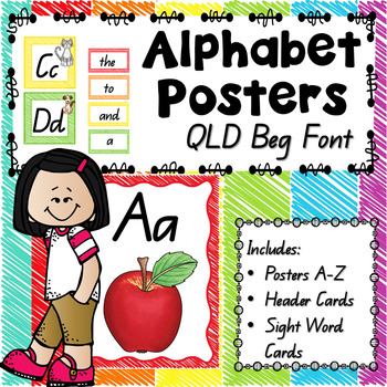 Alphabet Posters with Australian QLD beginners font