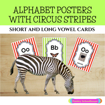 Circus Themed Alphabet Posters with Circus Stripes: Uppercase and Lowercase
