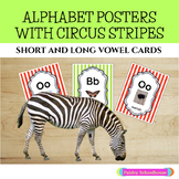 Circus Themed Alphabet Posters with Circus Stripes: Upperc