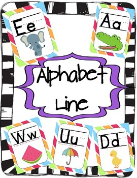 Alphabet Posters with Colorful Stripes