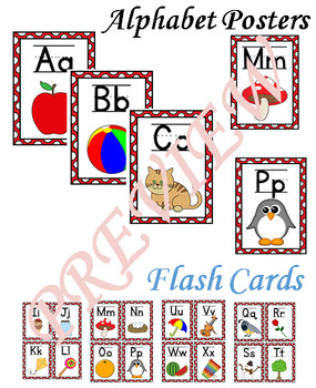 Alphabet Posters with Flash Cards---Bright Red Polka Dots