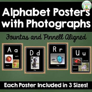 Alphabet Posters with Photos - Fountas and Pinnell Aligned - Burlap