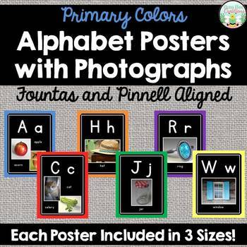 Alphabet Posters with Photographs - Fountas and Pinnell Aligned - Primary Colors
