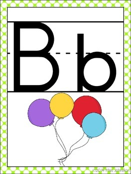 Alphabet Posters with Pictures {Blue and Green}