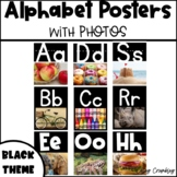 Alphabet Posters with Real Photos Pictures Photographs Black Theme