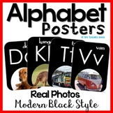 Alphabet Posters with Real Photos on Black Background