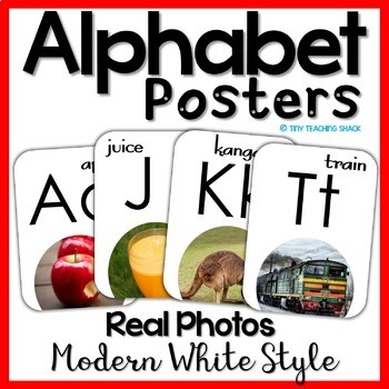 Alphabet Posters with Real Photos on White Background