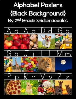 Alphabet Posters with Real World Pictures {black background version}