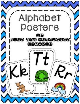 #roomdecor Classroom Decor Alphabet Posters with Turquoise Blue Chevron