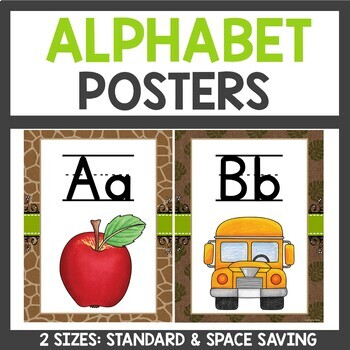 Safari Class Decor Alphabet Posters with Word Wall