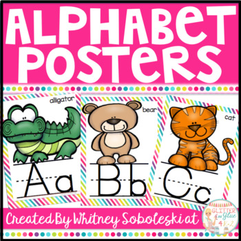 Alphabet Posters with a Rainbow Border and White Background